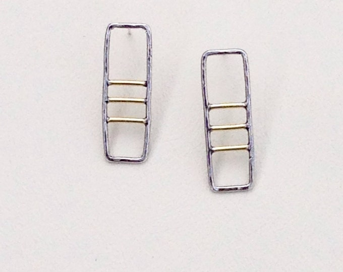Rectangle stud earrings using sterling silver and 14k gold fill