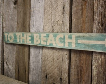 Beach Sign Wooden Decor Rustic Weathered