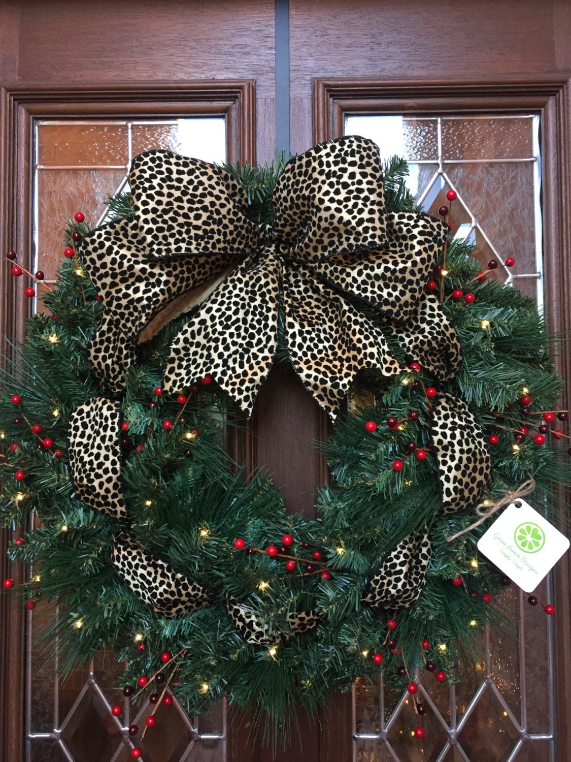 Christmas Wreath, Cheetah Bow, Red Berries, Garland Wreath, Leopard, Animal  Print, Winter Wreath