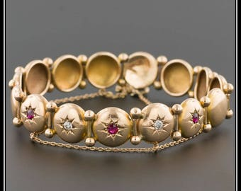 Antique Gold Bracelet | 14k Gold Ruby & Diamond Button Bracelet | 14k Gold Bracelet | Antique Bracelet