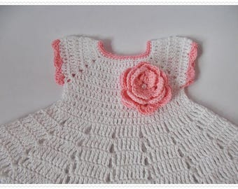 White pink Baby Dress Crochet Christening Gown Newborn dresses White baby dress pink flowers Crochet Blessing Dress knit dress Baby shower