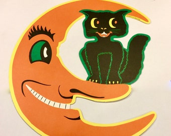 Vintage H E Luhrs, Smiling Moon Face, Black Cat, Die Cut, Halloween Decoration, Woolworths, Circa 1940s