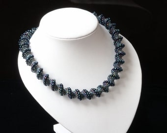Dark Iris Blue Cellini Spiral Necklace