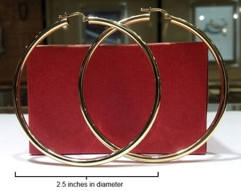 BIG GENUINE 14K Gold Classic Hoop Earrings (2.50 inch in diameter)