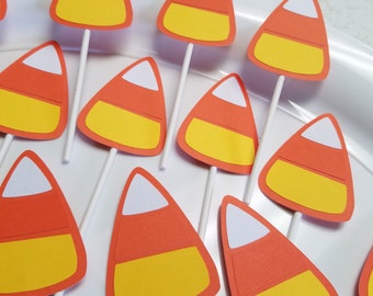 Candy corn cupcake toppers, candy corn, candy corn party, halloween party, halloween cupcake toppers