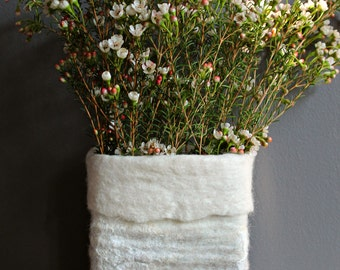 Unique wet felted vase cover, natural colors of white and brown, icelandic wool