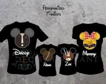 Star Wars Inspired Custom T-shirts, Han Solo, Chewbacca, Obi-Wan Kenobi, or Girl Droid, Disney Vacation,  Family Matching Shirts