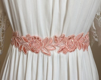 Light Coral Pink Lace Rose Bridal Sash