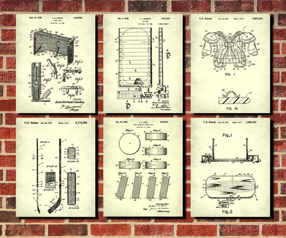Ice Hockey Patent Prints, Set 6 Ice Hockey Blueprints, Ice Hockey Poster Set, Ice Hockey Decor, Sports Posters, Man Cave Wall Art