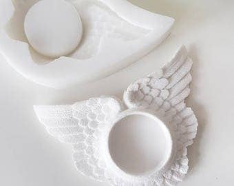 Angel wings tealight mold plaster of paris mold clay mold candle mold