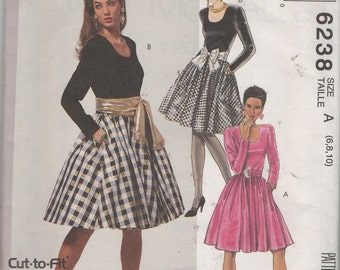 Misses'  Dress, Belt and Optional Attached Petticoat Sewing Pattern Easy Cut to Fit McCalls 6238  Size 6, 8, 10 Uncut
