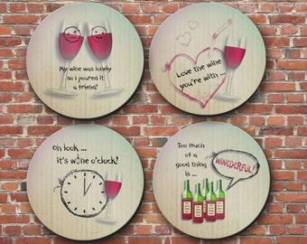 Coasters - Wine Wisdom, hostess gift, book clubs, coaster, wine, housewarming - CO0932