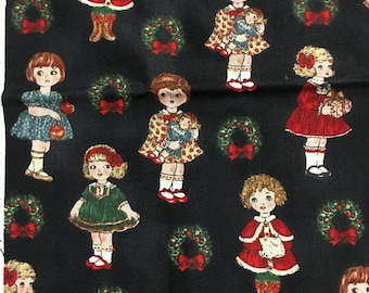 Paper Doll Christmas 30860 OOP Hard to Find 2 SEPARATE Fat Quarter Cuts