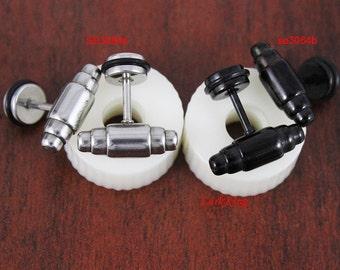 Hammer stud earrings, black studs, black stud earrings, unique stud earrings, stainless steel stud, men earrings,  men studs, SE3084