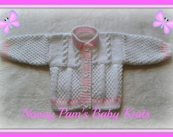 Baby girls hand knitted white & pink cardigan Age 0-6 months