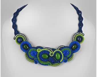 Soutache necklace Wisteria - very energetic mix of colours: dark blue, royal blue, green and lemon green