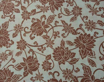 Blue and Brown Lotus Floral Fabric BTY