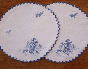 Vintage Doilies ~ Bluebirds Blue and White ~ Two Linen Embroidered Doilies ~ Vintage Embroidery Craft Repurpose Doilies