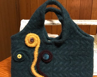 Felted wool handbag/repurposed upcycled felted wool sweater bag