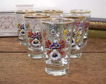 Set of six, retro vintage whiskey tumblers glasses with Scottish tartan designs.