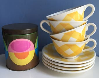 Four Large Digoin Ceramic Cups. Yellow Gingham Coffee Cafe Au Lait Cups. Sarreguemines Mugs. Breakfast Cups. Soup Starter Bowl. Check 1950s