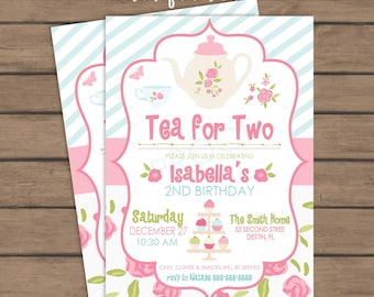 Tea for TWO - Second Birthday Party Invitation - 2nd birthday - girl - tea party - Printable - Girl Birthday Party Invite