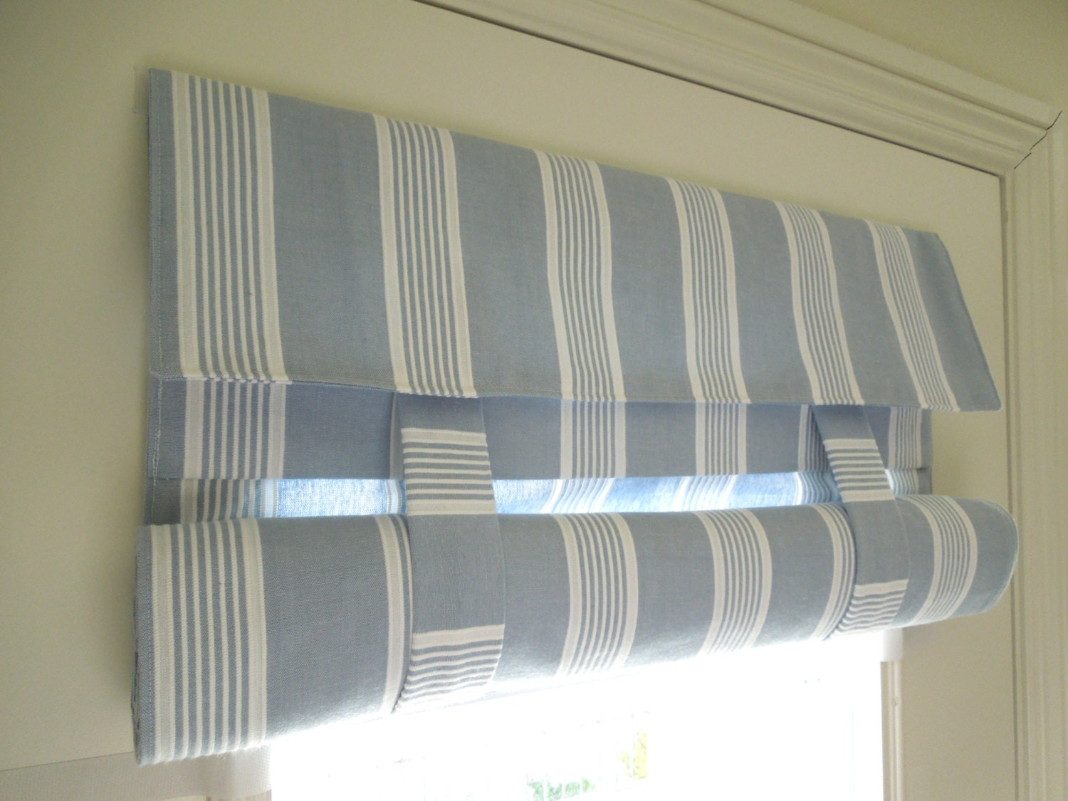 Blue Striped French Door Curtain