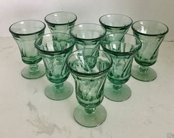 Fostoria Jamestown Green Footed Juice Glasses Set of Four