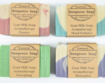 Aromatherapy Soaps 4 Goat Milk Soaps, Energizing Soap, Mood Enhance Soap, Passion Soap, Relaxation Soap,  Aromatherapy Soap