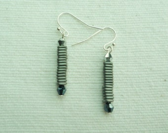 Lovely contempoary hematite and swarovski crystal drop earings
