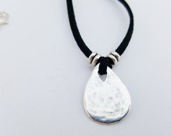 Black suede necklace with lovely silver teardrop pendant