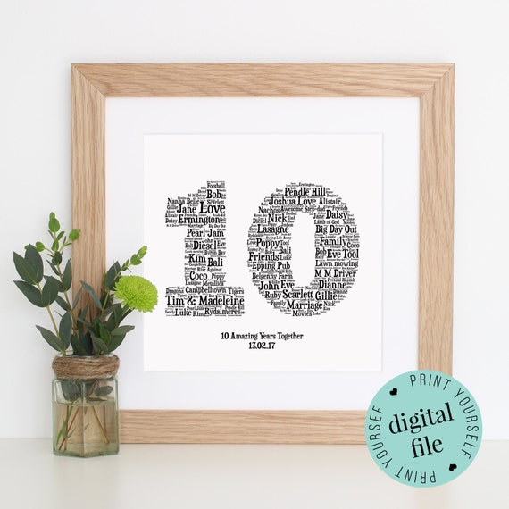 Gifts For 10th Wedding Anniversary For Him: 10TH ANNIVERSARY GIFT Word Art Printable Gift 10 Year