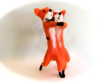 Needle felted fox wedding cake topper fox wedding tango animals woodland anniversary dancers dance funny topper red fox dancing love felting