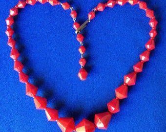 1960s Red Plastic Art Deco Necklace from West Germany