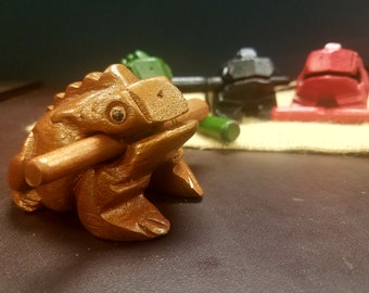 Wooden Singing Frog - Hand Carved and Painted