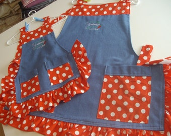 Mother & Daughter Aprons --Ruffled Matching set   (4 ever and Always Together we'll be)