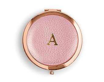Faux Leather Compact Mirror Initial Monogram Emboss Rose Gold Silver Vanity Round Bridesmaid Gift For Her Wedding Favors Bachelorette