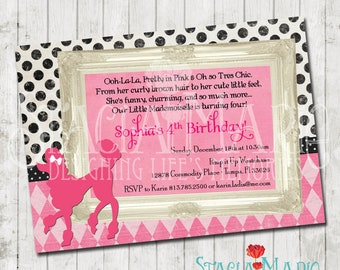 French Poodle Girl Birthday Invitation