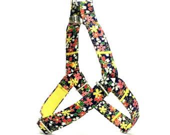 Kawaii Floral Dog Harness with Japanese Fabric, Hana