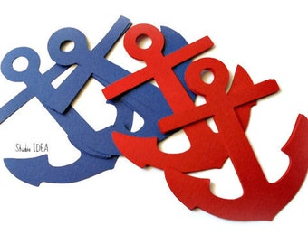 Red & Blue 4in Anchor Cut outs, Die cut, Confetti, Embellishments or CHOOSE YOUR COLORS
