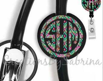Lilly Pulitzer Inspired Monogram Badge Reel & Stethoscope Id Tag Combo Pack