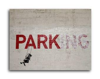 Banksy Parking Brushed Aluminum Metal Print