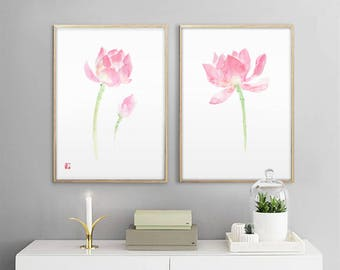 Lotus Painting Print, Set of 2 Prints, Flower Wall Art, Living Room Wall Decor, Watercolor Flower Art,botanical print set