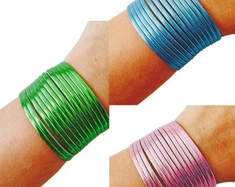 Bracelet to hide and protect Fitbit Flex & Flex 2 Fitness Activity Trackers -The PENELOPE Metallic Blue, Green, Pink Vegan Leather Bracelet