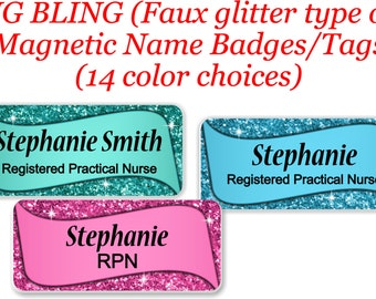 Magnetic Name Tag, Magnetic Name Badge, Name Tag, Name badge, Glitter Name Tag, Glitter Name Badge, Magnetic Sparkle Name Tag - BLING1