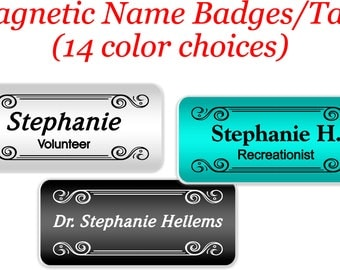 Magnetic Name Tag, Magnetic Name Badge, Name Tag, Name Badge, Employee Name Tag, Staff Name Badge, ID Tag, Abstract Name Badge -ABSTRACT7