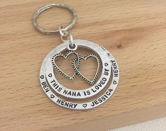 personalised keyring, this nana is loved by, gift from grandchildren, nana present, nana birthday gift, name keyring, grandma keyring, UK