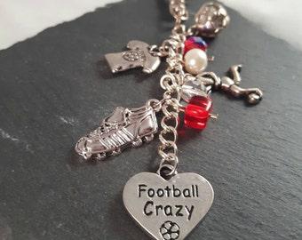 Football Soccer Bag Charm - football gift - sport gift - soccer gift - football player gift - football supporter gift - soccer coach gift