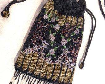 Stunning Fully Beaded Black Gold Green Pink Drawstring Shoulder Evening Bag - Victorian Style