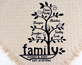 Personalized Family Tree Blanket | Custom Embroidered Family Throws | Blankets | Grandma Gift grandchildren | Anniversary | Grandpa Birthday